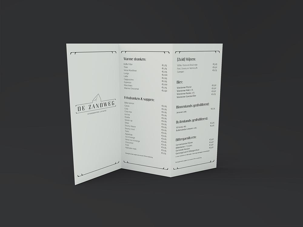 Huisstijl ontwerp menu kaart